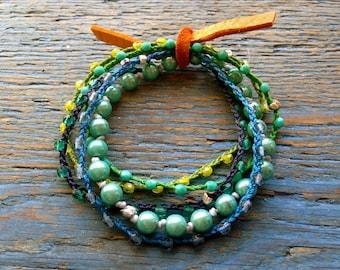beaded glass roll bracelets