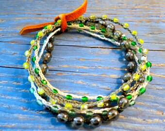 set of 5 beaded roll bracelets.