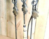 Fireplace tool 4-peice set with stand Oak leaf Acorn made in the heart of the Missouri Ozarks USA by a blacksmith