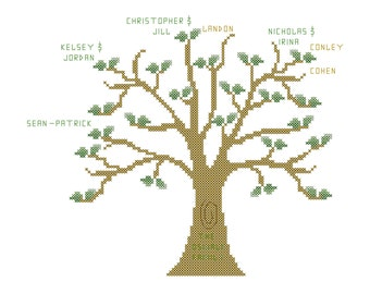 modern simple family tree cross stitch pattern family tree etsy