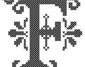 "Ornament Cross Stitch Pattern, Letter ""F"" Cross Stitch, Cross Stitch Monogram, Cross Stitch Initial, Cross Stitch Pattern"