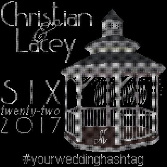 Gazebo Wedding cross stitch pattern modern wedding cross | Etsy