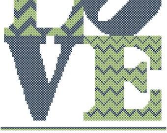 Love Cross Stitch Pattern, Wedding Love Cross Stitch Pattern, Love with Family name and date cross stitch pattern, modern wedding stitch