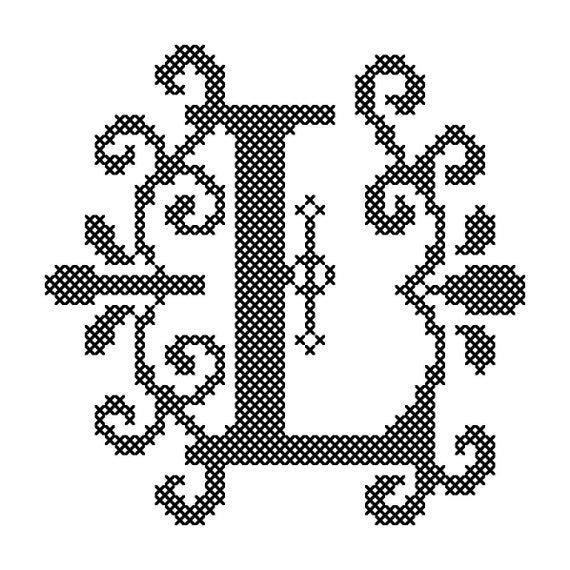 Modern Letter L Cross Stitch Pattern Fancy Letter L Cross Etsy