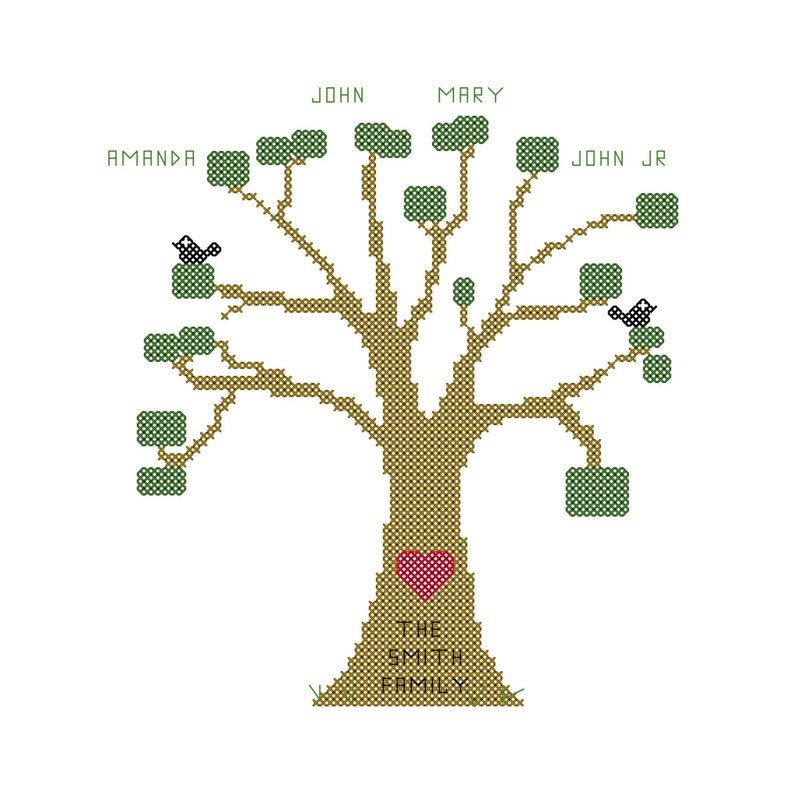 Rustic Family Tree Cross Stitch Pattern Simple Family Tree Personalized for You