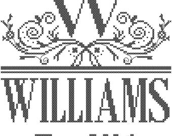 Family name cross stitch pattern, Initial and name cross stitch pattern, initial with swirl detail cross stitch pattern, modern cross-stitch