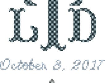Communion Cross Stitch Monogram Pattern, Confirmations Cross Stitch Pattern, Baptism Cross Stitch Pattern, Monogram with Date and Cross