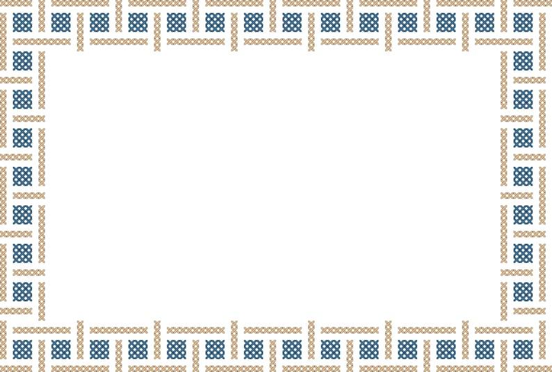 Simple Geometric Border Cross Stitch Pattern to fit standard 7