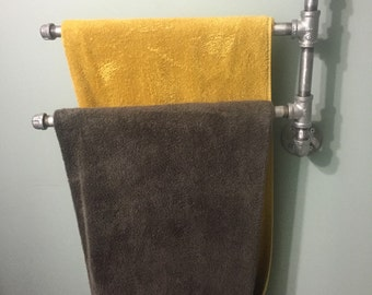 Industrial iron or galvanized pipe multiple  towel rack