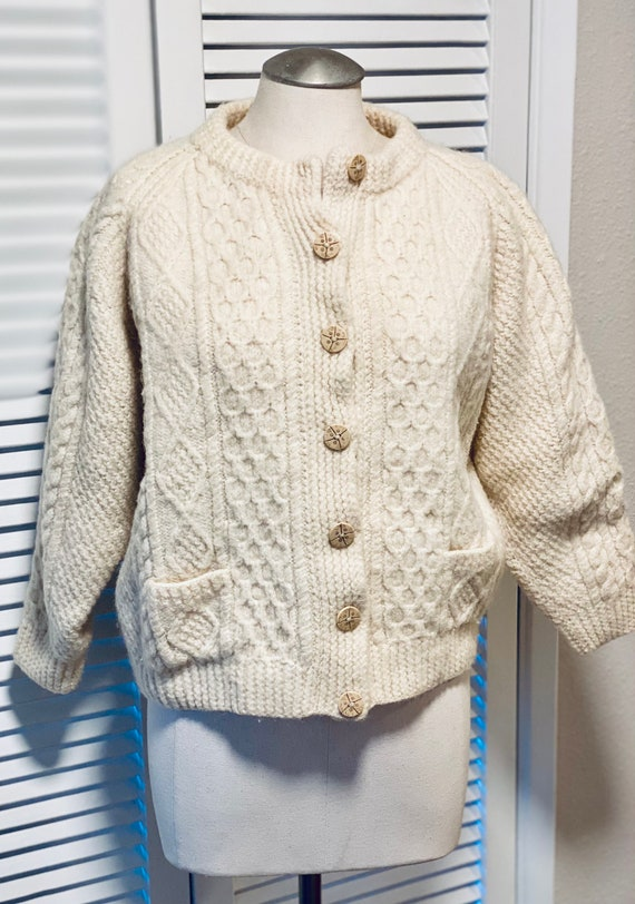 Hand Knit Vintage Fisherman's Sweater Cardigan