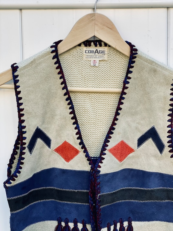 Vintage Suede and Knit Vest by Collage