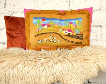 Vintage Crewel Pillow, Retro Embroidery Home Decor, Granny Chic Decor