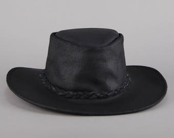 BLACK Genuine Leather RANCHER Hat Vtg 70s Wide Brim Braid Country Western  Cowboy Boho Hippie Festival Silver Stud Rocker - Large c6484d7c647