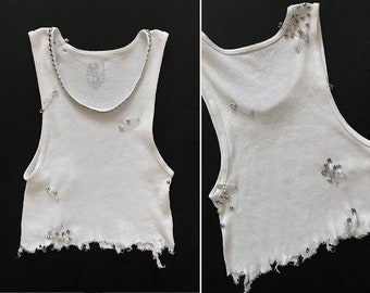1de2e0f5751b54 PUNK ROCK Lies Plain Blank White Studded Pinned Rib Knit Cutoff Crop Tank  Top Vtg Thrashed Distressed Ripped Thin Tee T Shirt Black Gray