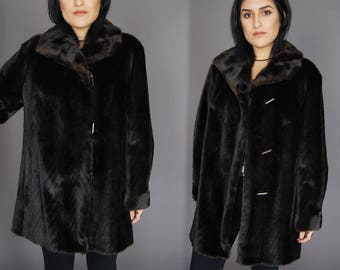 Brown DUBROWSKY /& PERLBINDER Faux Fur Jacket Vtg 70s Herringbone Leather Long Feathered Fancy Party Exclusively Warm Winter Coat LargeXL
