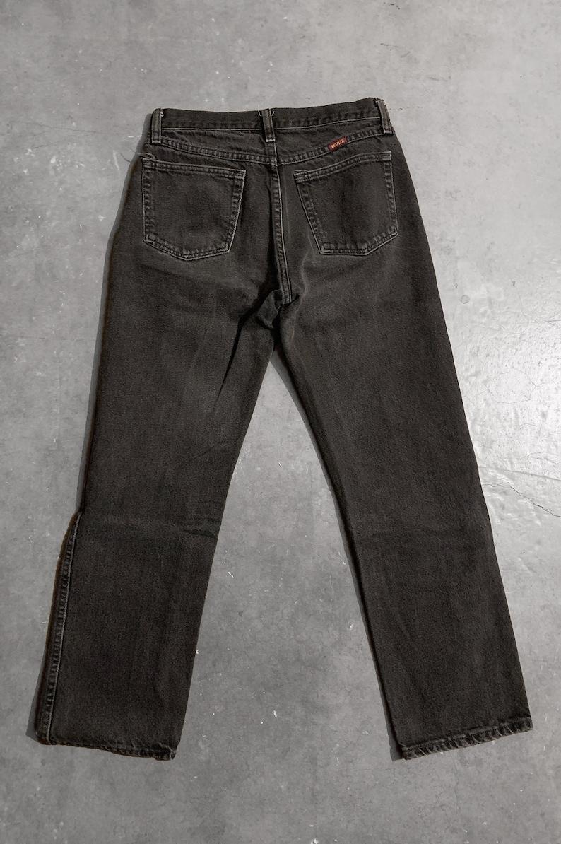 SmallMedium Vintage Black RUSTLER Denim BOYFRIEND Jeans 80s90s Distressed Low Rise Waist Worn In Rocker Grunge Biker Straight Pants 29