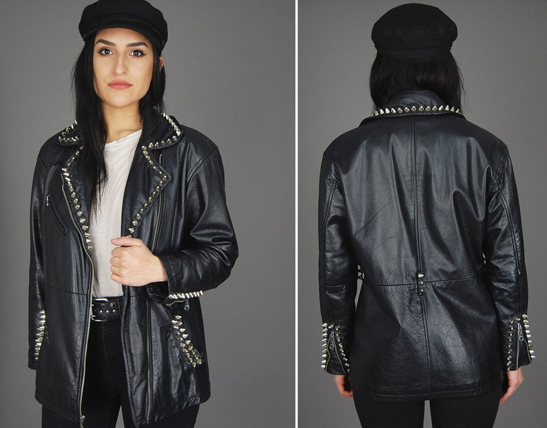 6778f1305 Black WILSONS Leather STUDDED Biker Jacket Vtg 80s Punk Rock Lies  Distressed Worn In Biker Moto Motorcycle Maroon Quilted Coat - Large/XL
