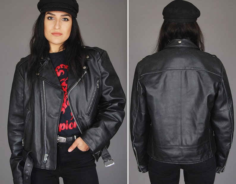 5b690d3ef Black LEATHER Motorcycle Biker Jacket Vtg 80s SEARS Oversized Moto Punk  Rock N Roll Rocker Riding Belted Quilted Asymmetric - Large/XL