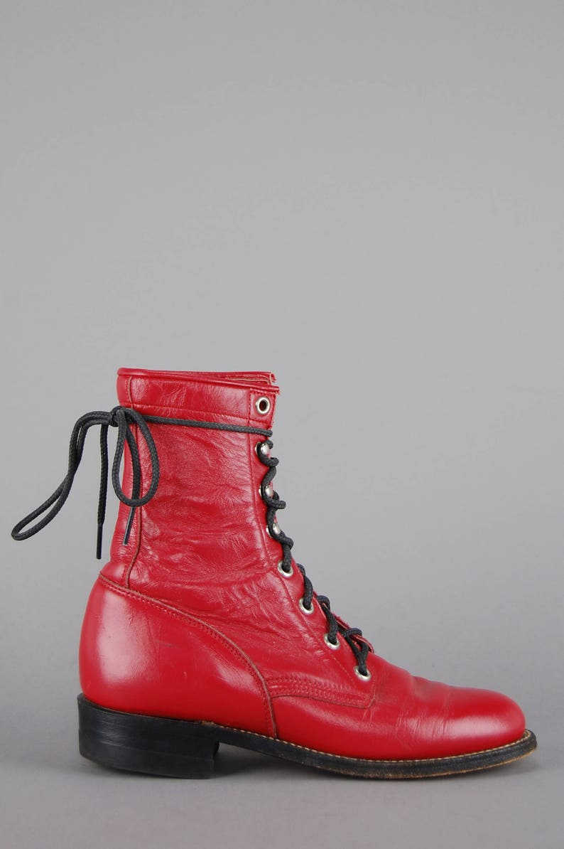 e4c7e80096d3 Red Justin Leather Ankle Boots Vtg 80s Roper Lace Up Riding