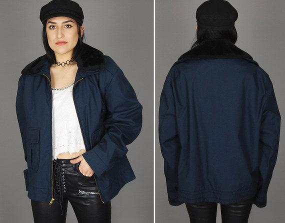 Vintage Dark Blue Bomber POLICE Jacket 70s Black T