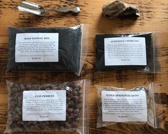 DIY Terrarium Kit With Silver Soil Scoop • Build Your Own Terrarium • Small Starter Terrarium Kit • Lovely Terrarium Supplies Gift Idea