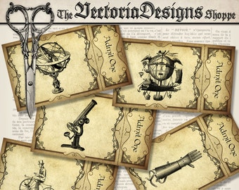 Steampunk Tickets Printable Tickets Paper Crafting digital download instant download digital collage sheet - VDTIST1415