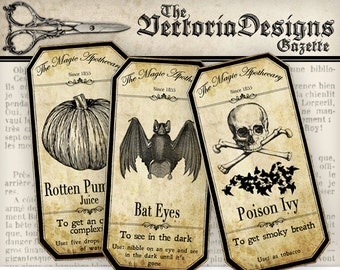 Halloween Decorations, Halloween Apothecary Labels, Witch Craft Gifts, Halloween Printable, Potion Bottle Labels, Wiccan Halloween 000125