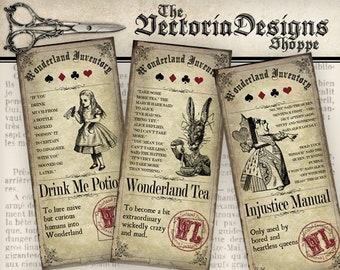 Alice in Wonderland Inventory Labels Printable Alice in Wonderland Labels Digital Download Instant Download digital collage sheet - VD0757