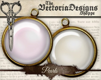 Pearl Circles 1.5 inch / 1 inch / 20mm / 18mm / 16 mm / 14mm / 0.5 inch jewelry pendant instant download digital collage sheet - VDCIVI1306