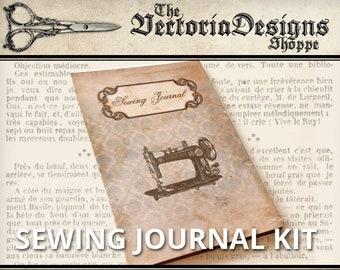 Sewing Journal Kit, Printable Junk Journal, Vintage Journal Pages, Digital Sewing Journal, Digital Paper Craft, Scrapbook Journal 001294