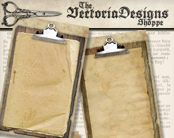 Clipboard Papers printable grunge paper crafting background scrapbooking instant download digital collage sheet - VDPAGR1349
