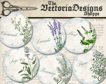 Herbal Coaster Circles Printable Herbs 3 inch paper crafting diy scrapbooking handmade instant download digital collage sheet - VDCIVI1406