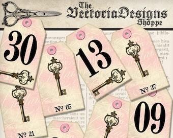 Vintage Key Number Tags, Printable Number Tags, Digital Download, Wedding Numbers Tags, Digital Collage Sheets, Wedding Decoration 001386