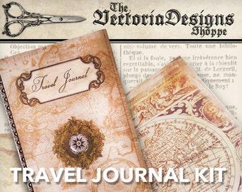 Travel Journal Kit Printable Journal DIY traveling junk journal crafting paper craft instant download digital collage sheet - VDKIVI1323