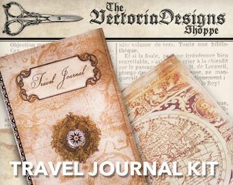Travel Journal Kit, Printable Junk Journal, Digital Journal Kit, Scrapbook Paper, Instant Download, Paper Travel Kit, Trip Journal  001323