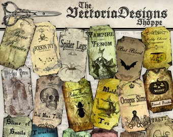 Apothecary Labels, Halloween Bottle Labels, Halloween Decorations, Halloween Printable, Steampunk Apothecary Labels, Digital 001186