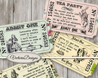 Printable Alice in Wonderland Tea Party Invitation Tickets color crafting digital download instant download digital collage sheet - VD0590