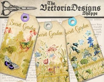 Secret Garden Tags printable art craft paper crafting scrapbooking color flowers instant digital download digital collage sheet - VDTAVI1394