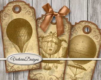 Air Balloon Tags printable paper craft shabby art hobby crafting scrapbooking instant download digital collage sheet - VDTAST1507