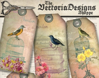 Birdcage Tags printable paper craft add text shabby art hobby crafting scrapbooking instant download digital collage sheet - VDTAVI1326