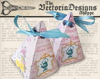 Vintage Tea pyramid box printable diy paper crafting favor digital download instant download digital collage sheet - VDBXVI1397