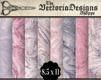 Pink Marble Papers 8.5 x 11 inch paper pack printable hobby crafting scrapbooking instant download digital collage sheet - VDPAVI1377