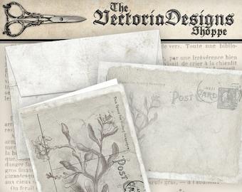 Shabby Elegant Card and Envelope printable gift card gray botanical paper crafting scrapbooking digital download digital sheet - VDCAVI0819
