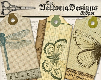 Dragonfly and Butterfly Grid Tags paper crafting scrapbooking steampunk digital download instant download digital collage sheet - VDTAVI1371