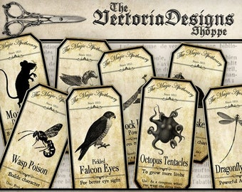 Halloween Printables, Halloween Decoration, Apothecary Labels, Bottle Labels, Halloween Art, Potion Labels, Steampunk Halloween VD0094