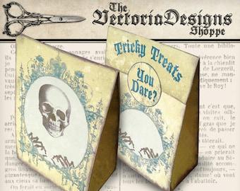 "Halloween Favor Bag ""Tricky Treats"" printable decor paper crafting instant download digital collage sheet - VDFBHA0848"