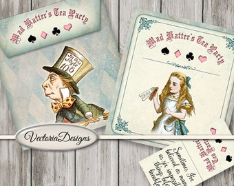 Alice In Wonderland Envelopes, Tea Bag Envelopes, Mad Hatter Party Supplies, Party Decoration, Tea Party Invitations, Alice Gift 001499