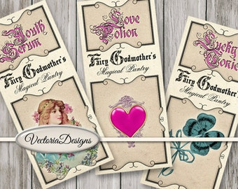 Faerie Godmother's Pantry Labels printable apothecary paper crafting scrapbooking instant download digital collage sheet - VDAPVI1440
