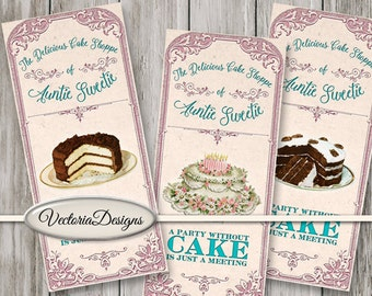 Cake Shoppe Labels printable apothecary paper crafting scrapbooking instant download digital collage sheet - VDAPSC1473