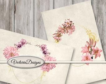 Shabby Roses Mini Cards roses gold frame  scrapbooking vintage printable paper crafting instant download digital collage sheet - VDPASC1450